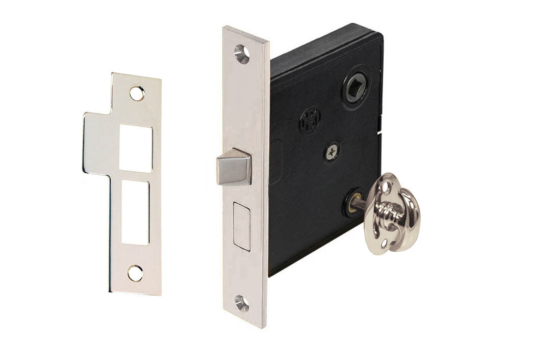 Classic Brass Interior Mortise Lock Set With Thumbturn ~ Polished Nickel Finish