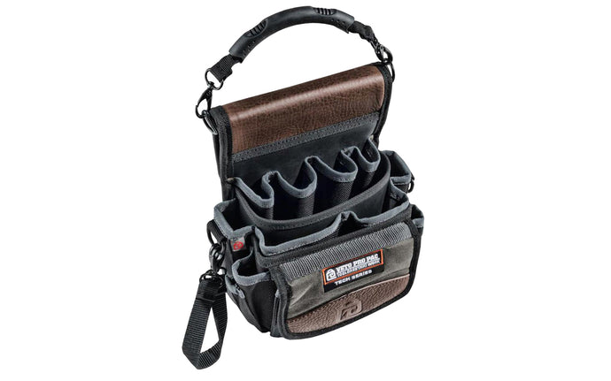 Veto Bags - Veto Pro Pac model TP4 - Leather Trim Panels - Detachable Rubber Handle - 851578000370 - Veto Pac Pac Tool Bag - TP4 Pouch - Meter Pouch - Bit extension pockets - D-ring clips - Shoulder strap - Features 20 pockets of various sizes including bit pockets - 20 pocket pouch -  diagnostics tool bag - Belt slot
