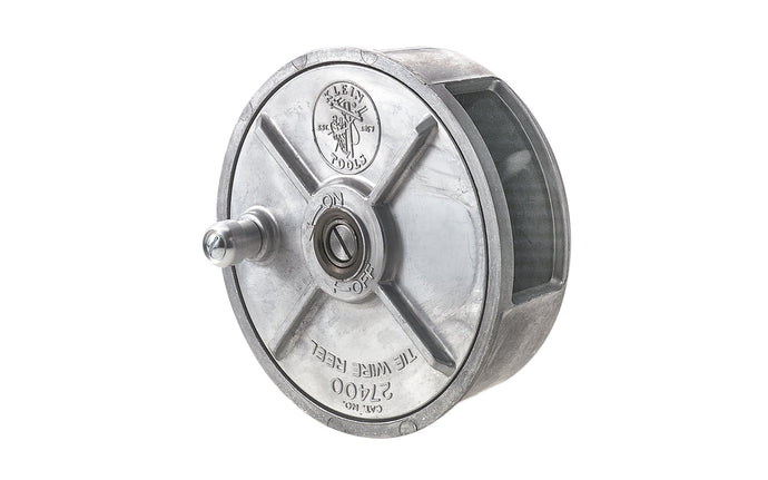 Klein Tools - Made in USA ~ Model 27400 - Load 12-18 gauge wire easily - Rugged, lightweight reel is smooth aluminum alloy with steel parts - Feeds pre-coiled wire smoothly, easily, & quickly to save time & reduce wasted wire - left or right hand use - Tie Wire Reel - rewind knob - Metal Tie Wire Reel - 6-1/2