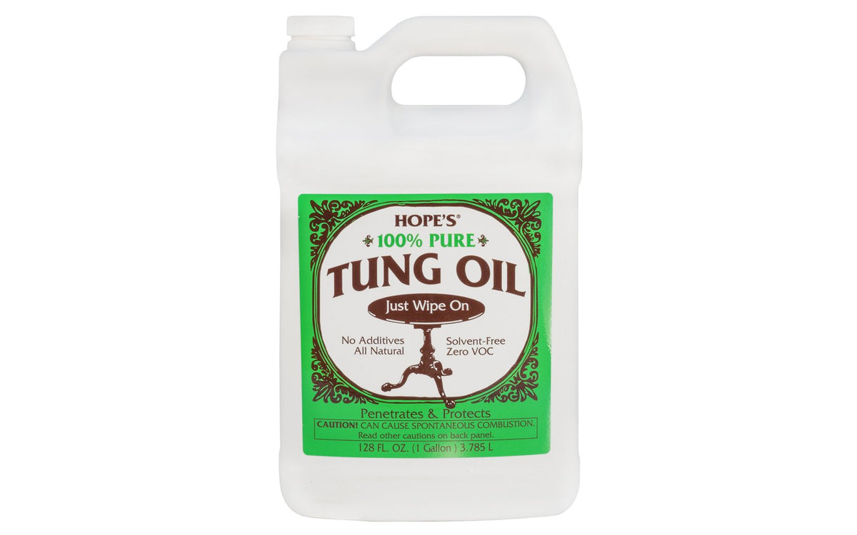Hope's 100% Pure Tung Oil ~ 128 fl oz - 1 Gallon - Zero VOC ~ Protects & beautifies all types of woods ~ No additives - All natural ~ Produces a classic 'hand rubbed' finish on fine wood surfaces