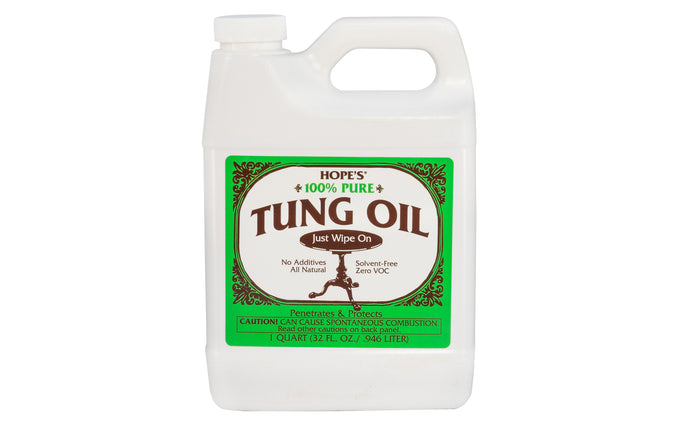 Hope's 100% Pure Tung Oil ~ 32 fl oz - 1 Quart - Zero VOC ~ Protects & beautifies all types of woods ~ No additives - All natural ~ Produces a classic 'hand rubbed' finish on fine wood surfaces