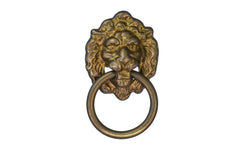 Solid Brass Lion Head Ring Pull ~ Antique Brass Finish