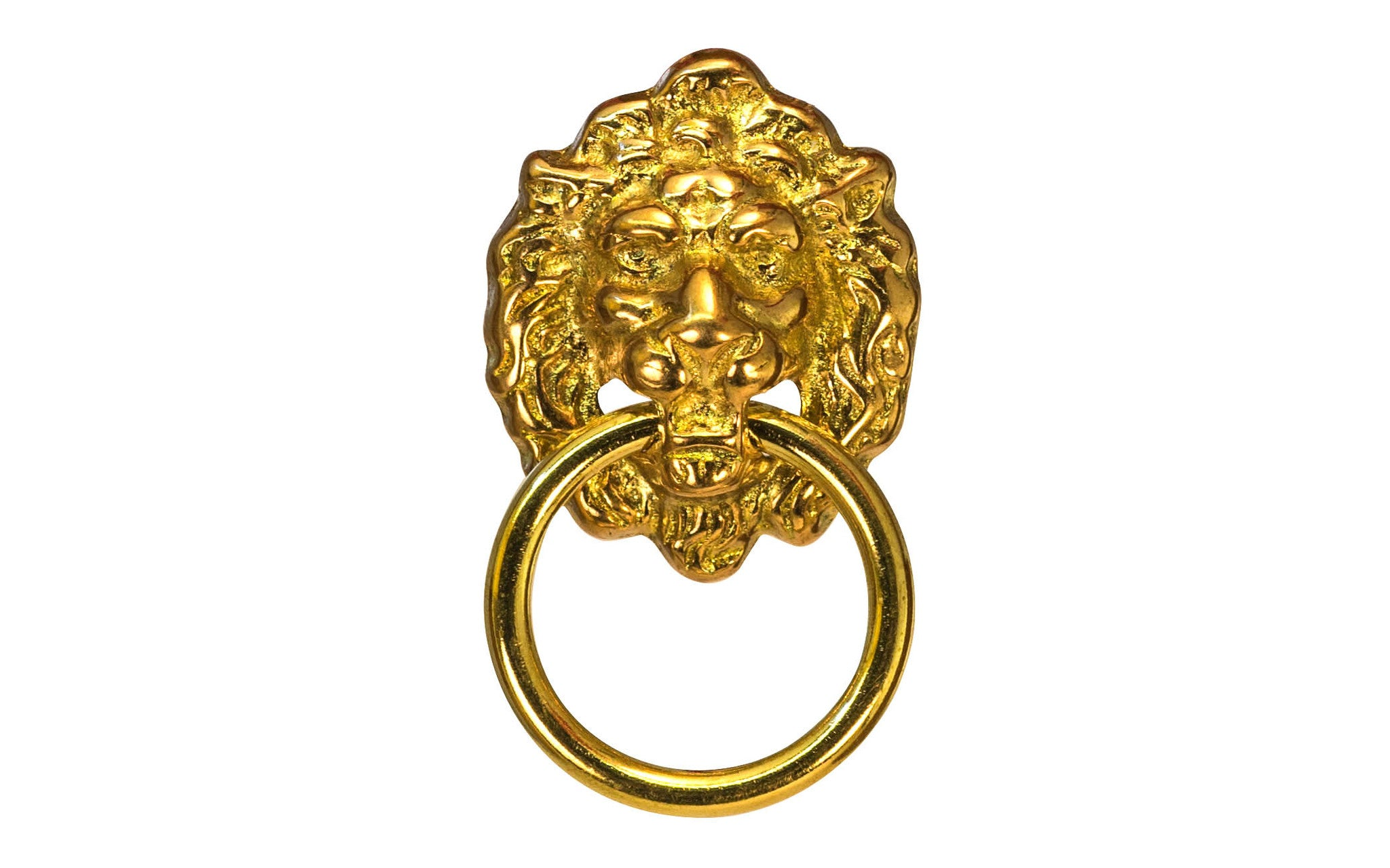 Solid Brass Lion Head Ring Pull ~ Non-Lacquered Brass (will patina naturally over time)