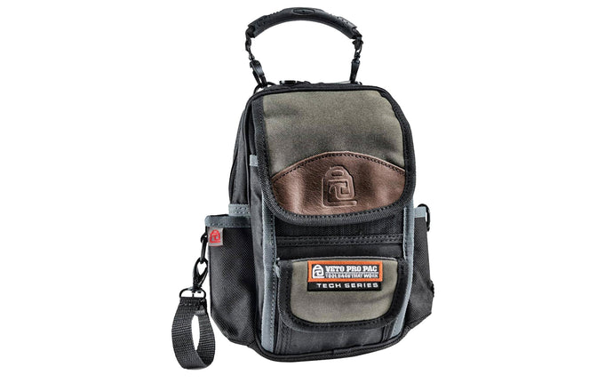 Veto Bags - Veto Pro Pac model MB - Leather Trim Panels - Detachable rubber handle & electrical tape strap - 851578000356 - Veto Pac Pac Tool Bag - MB Pouch - Meter Pouch - D-ring clips - Shoulder strap - Features 10 interior & exterior pockets - 10 pocket pouch - Belt slot - 2 meter pockets - Heavy duty meter bag