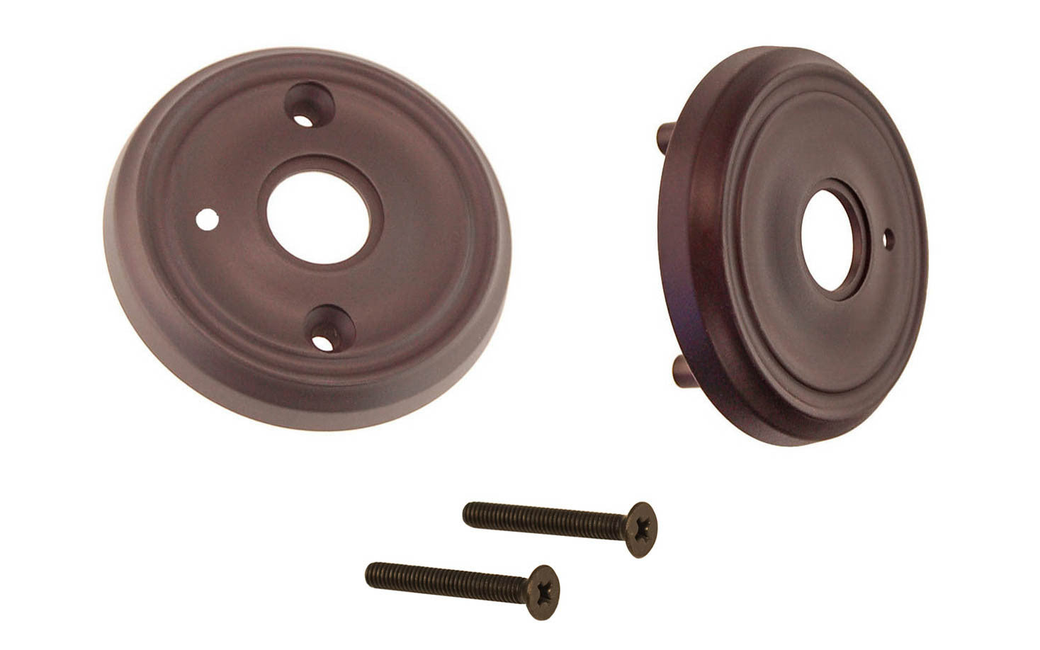 Classic Solid Brass Rosette Set ~ Privacy (Locking) ~ Oil Rubbed Bronze Finish