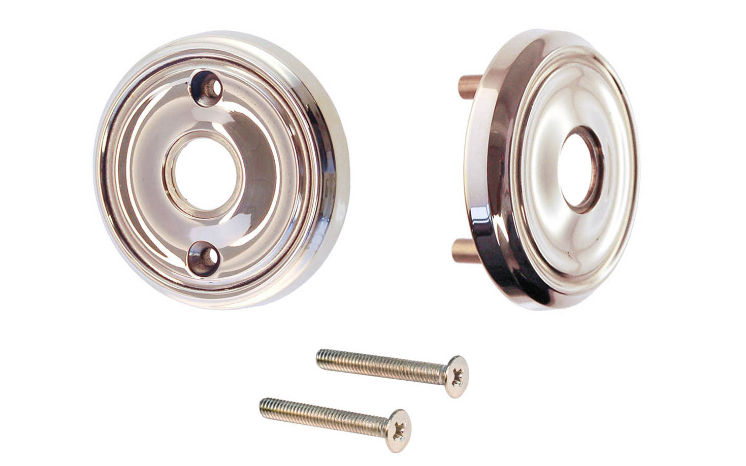 Classic Solid Brass Rosette Set ~ Passage (Non-Locking) ~ Polished Nickel Finish