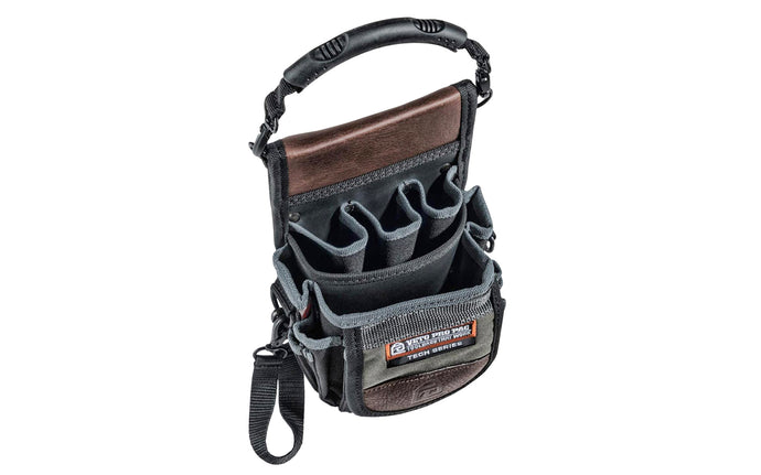 Veto Bags - Veto Pro Pac model TP3 - Leather Trim Panels - Detachable Rubber Handle - 851578000349 - Veto Pac Pac Tool Bag - TP3 Pouch - Meter Pouch - Features 15 pockets of various sizes including bit pockets - TP3 Bag - Electrical tape strap - Clip-on diagnostics bag which holds a meter & a variety of tools - Veto Bag