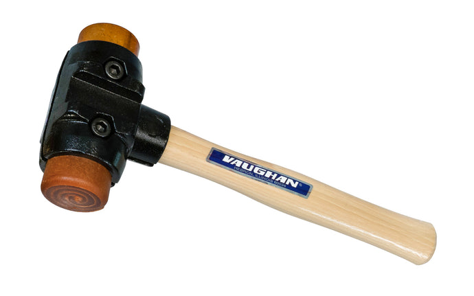 Vaughan Split-Head Hammer with Rawhide Faces - 4 lb. ~ No. SH200 - Made in England - This Split-Head Hammer allows for quick change of faces & handles. Malleable iron heads are designed for uniform clamping pressure on handle & faces. Extension collars transfer shock to more handle surface, reducing user fatigue & handle breakage. Top quality hardwood handle.  Rawhide faces - 1-7/8