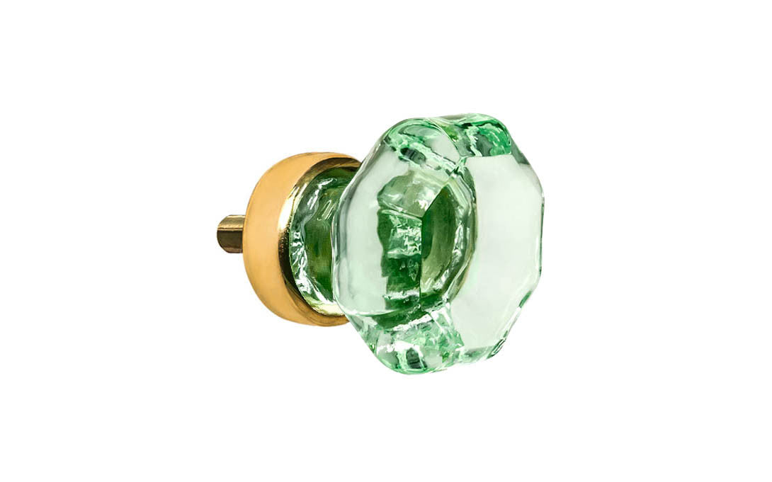 Octagonal Glass Knob ~ Depression Green ~ 1