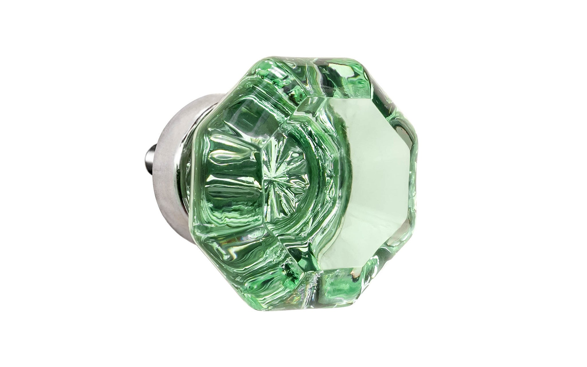 Octagonal Glass Knob ~ Depression Green ~ 1-1/4