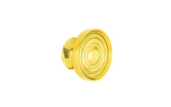 "Solid Brass Mini Knob with Concentric Rings ~ 7/8"" Diameter"