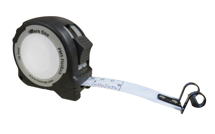 FastCap FlatBack Tape Measure ~ 16' - Burn One - Model No. PMS FLAT BURN1 - Burn space at the beginning of the scale - Zero line for absolute precision