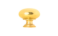 "Classic Brass Knob ~ 1"" Diameter ~ Non-Lacquered Brass (will patina naturally over time)"
