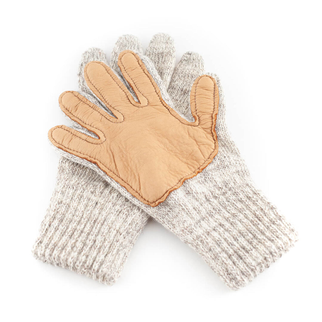Ragg Wool Gloves with Genuine Deer Skin Leather Palm - Great Alaska Glove Company