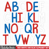USA Letters Red White and Blue Alphabet