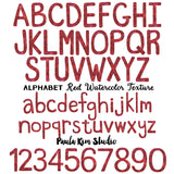 Red Watercolor Alphabet