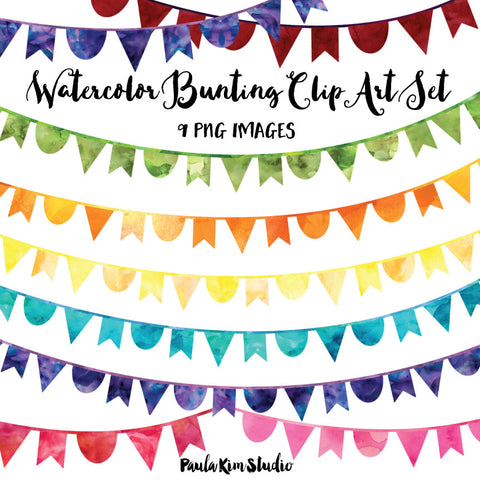 Rainbow Watercolor Bunting
