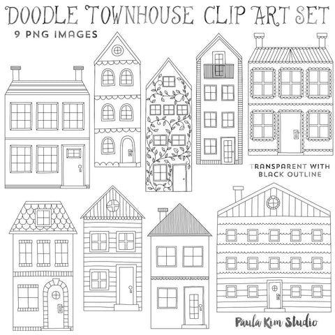 Doodle House Black Outline Coloring Pages