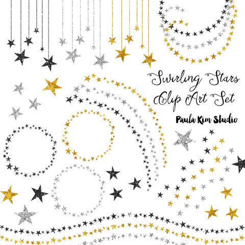 Silver and Gold Glitter Swirling Stars