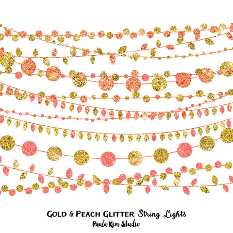 Gold and Peach Glitter String Lights