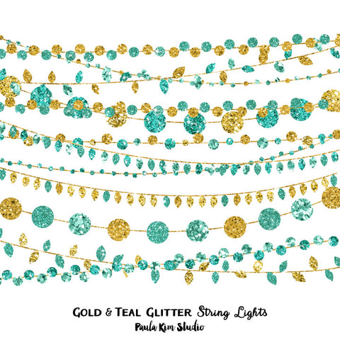 Gold and Teal Glitter String Lights