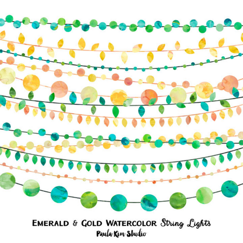 Yellow and Green Watercolor String Lights