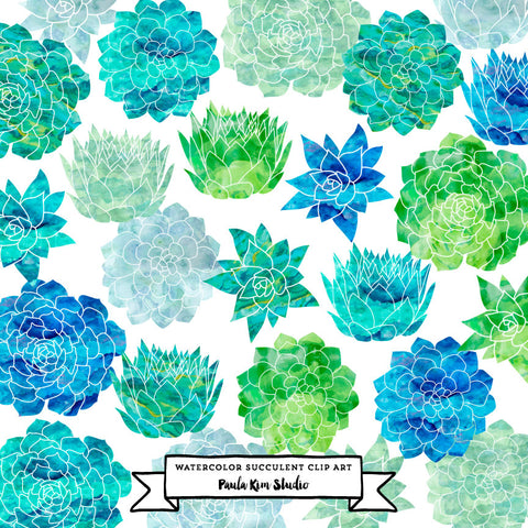 Flower succulents clip art with blue-green watercolor texture