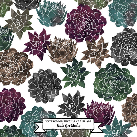 Flower Succulents Clip Art in Dark Watercolor Texture