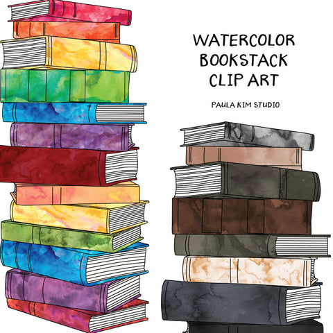 Watercolor Book Stack