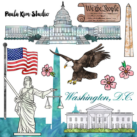 Washington D.C. Federal Government Watercolor