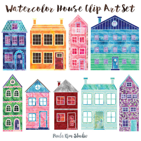 Watercolor Doodle Houses