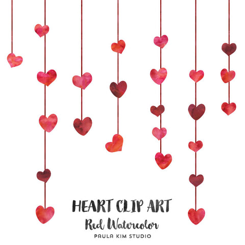 Hanging Red Watercolor Hearts
