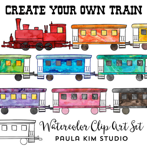 Watercolor Trains