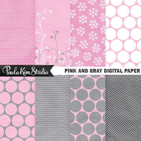 Pink and Gray Polka Dots