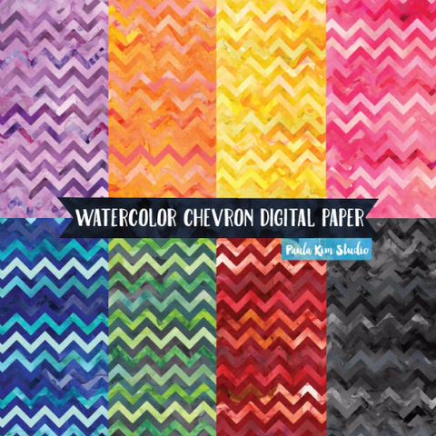 Rainbow Watercolor Chevron
