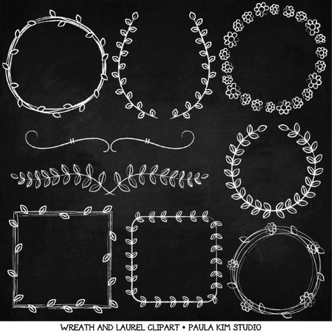 Clipart - Chalk Wreaths & Laurels