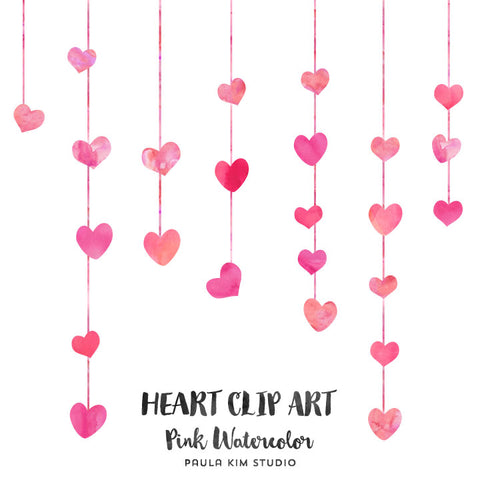 Hanging Pink Watercolor Hearts