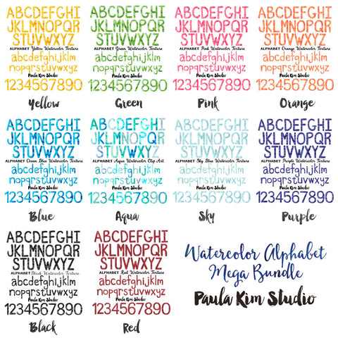 Watercolor Alphabet Bundle