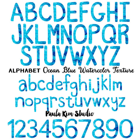 Blue Watercolor Alphabet
