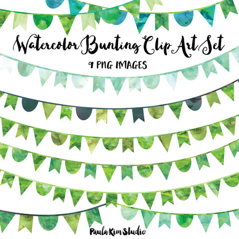 Green Watercolor Bunting