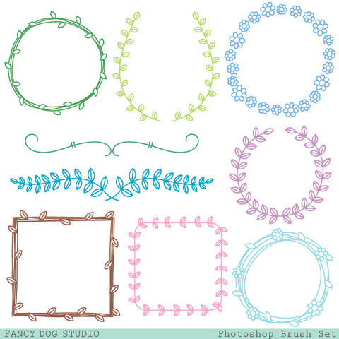 Wreath Frame Photoshop Brush Set
