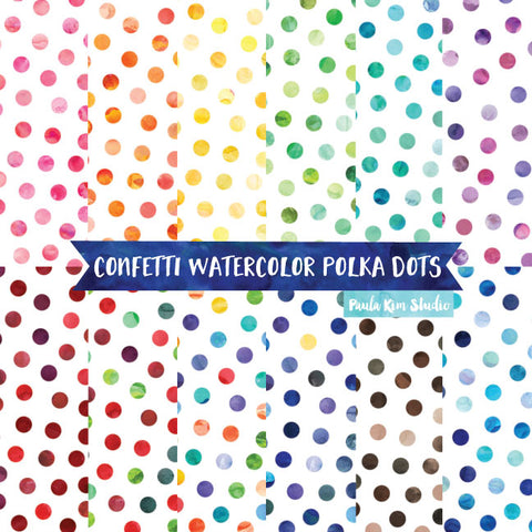 Confetti Watercolor Polka Dots