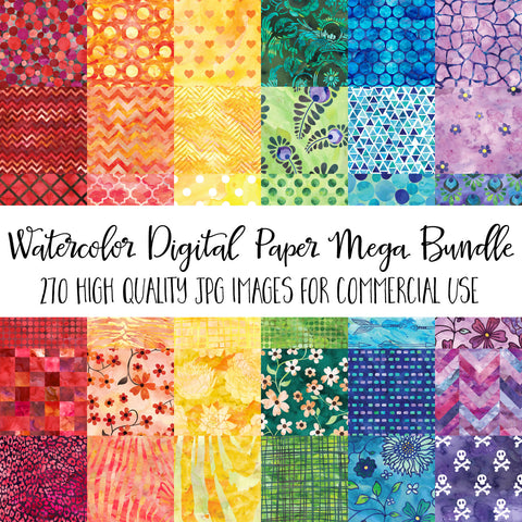 Watercolor Digital Paper Mega Value Bundle