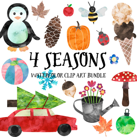 Watercolor Seasons Clip Art