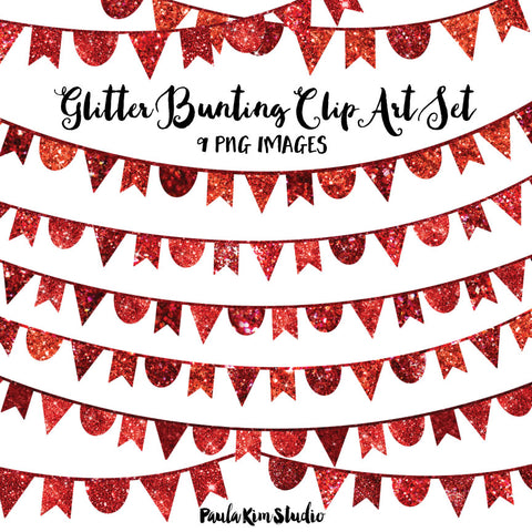 Red Glitter Bunting