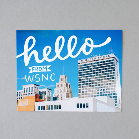 Hello from WSNC. Winston-Salem postcard by Em Dash Paper Co.