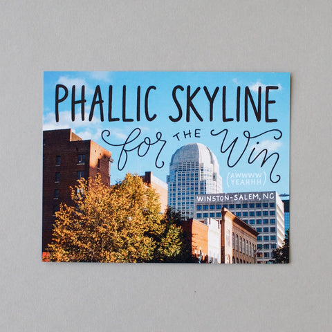 Phallic skyline for the win! Funny Winston-Salem postcard by Em Dash Paper Co.