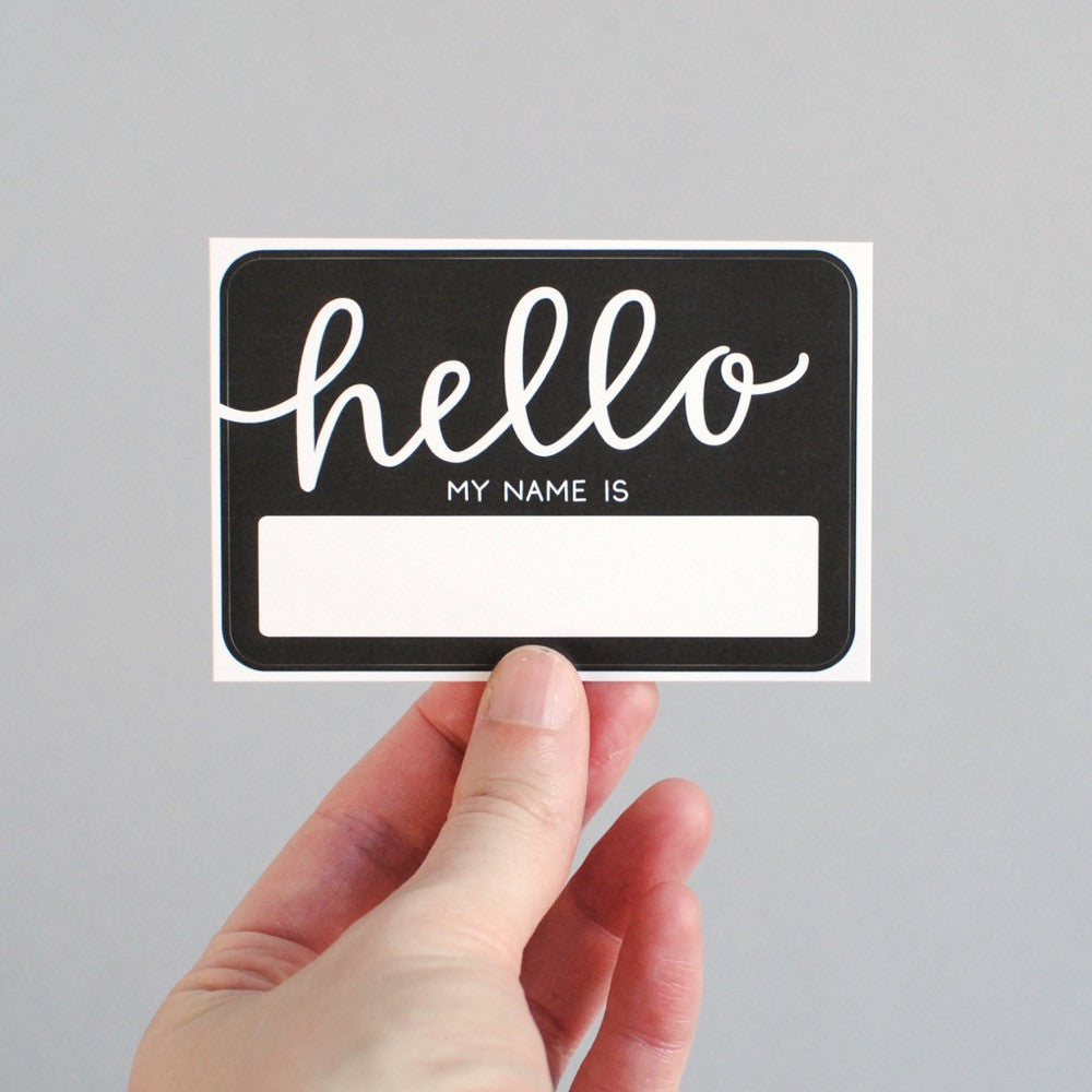 NAME TAGS // Hello My Name Is, Black (Pack of 10)