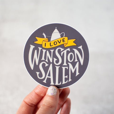 I love Winston-Salem! Weather-resistant round vinyl sticker by Em Dash Paper Co.