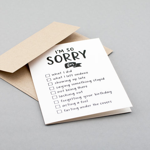 Multi-purpose apology card. Genius! By Em Dash Paper Co.